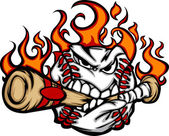 Baseball Flaming Face Biting Bat Vector Image — Stok Vektör