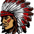 Indian Chief Mascot Head Vector Graphic — Imagens vectoriais em stock