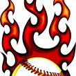 Baseball with Flames Vector Image - Stock Vector