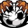 Soccer Ball With Tiger Claws Vector Image — Stock Vector