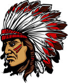 Indian Chief Mascot Head Vector Graphic — Stockvektor