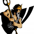 Постер, плакат: Titan Mascot with Trident and Crown Graphic Vector Illustration