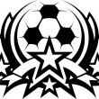 Soccer Ball Vector Graphic Template with Stars — Stock Vector