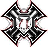 Baseball Softball Bats Graphic Vector Template — Stock Vector