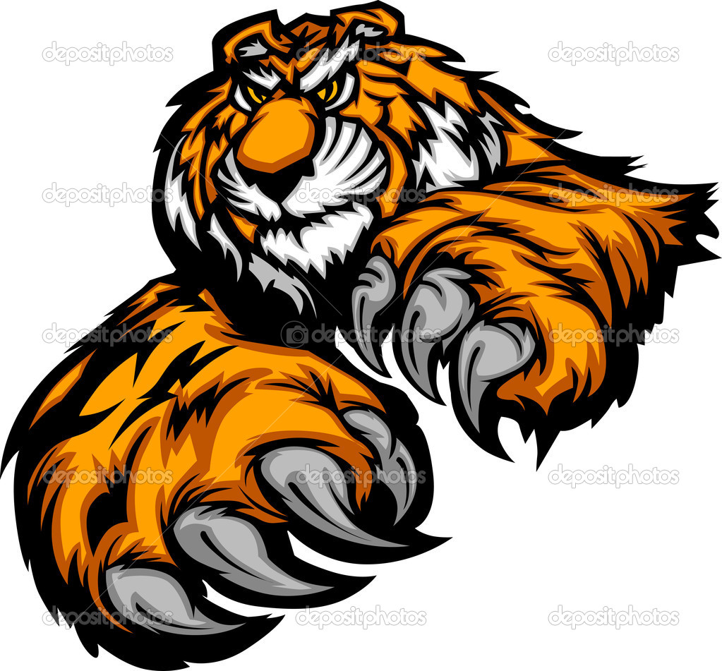 Tiger Reaching with Claws and Paws Vector Image  — Stock Vector #7456728