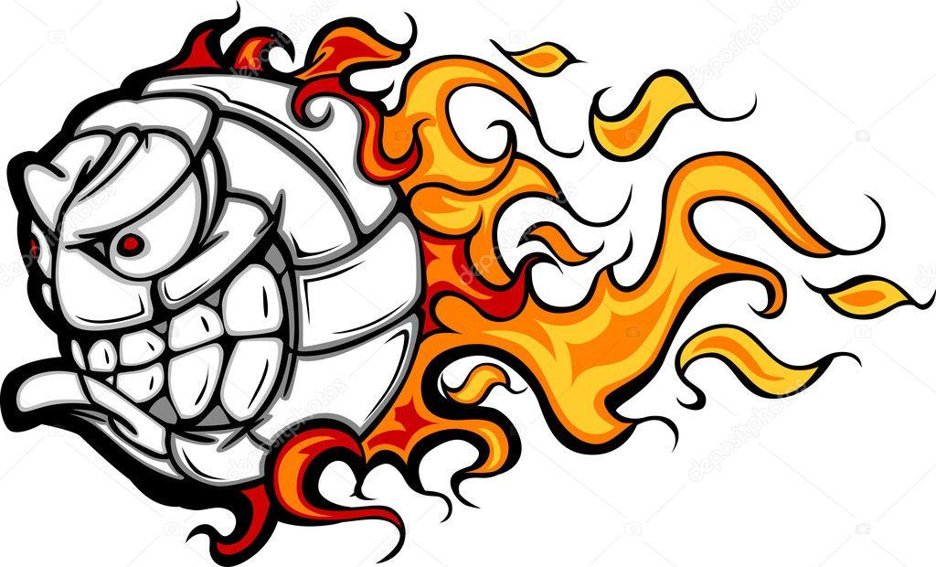 Immagine vettoriale di pallavolo palla fiammeggiante viso