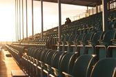 Grandstand, empty except two — Stock Photo
