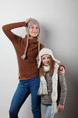Girls dressed in knitted things — Stock Photo