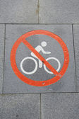No Bicycle Sign Road — Stock Photo