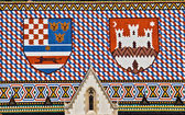Saint Marco church roof with Croatian coat ofarms — Stock Photo