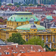 Zagreb rooftops and croatian national theater — Stock Photo