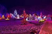 рождественские огни в городском парке - фантазия цвета — Стоковое фото