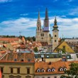 Zagreb cityscape panoramic view at old town center — Stock Photo