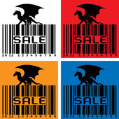 Barcode with black Dragon — Stock Vector