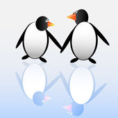 Two funny penguins — Vector de stock
