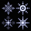 Delicate metalic snowflake collection — Stock Photo #7300165