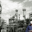 Refinery workers and industry — Stock Photo
