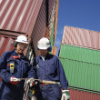 Port workers and containers — Stock Photo