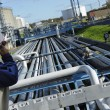 Working with pipeline construction — Stock Photo