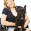 Disabled Girl and Canine Friend — Stock Photo