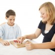 Kids Play Board Game — Stock Photo