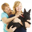 Mother Daughter and Dog — Stock Photo