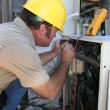 AC Tech Testing Voltage — Stock Photo