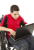 Disabled Teen on Laptop - Shocked — Stock Photo