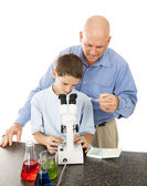 Science Teacher Helps Student — Stock Photo