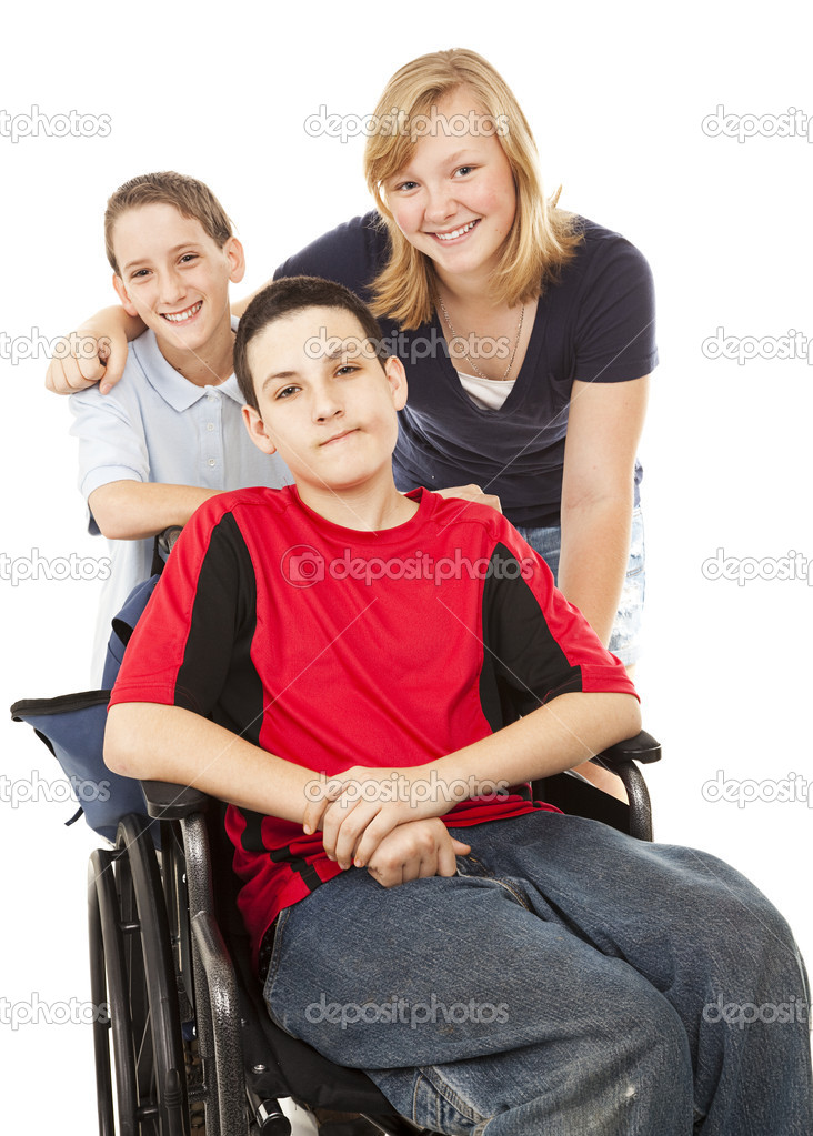 Disabled boy in wheelchair with his brother and sister.  Isolated on White.  Stok fotoraf #6777978