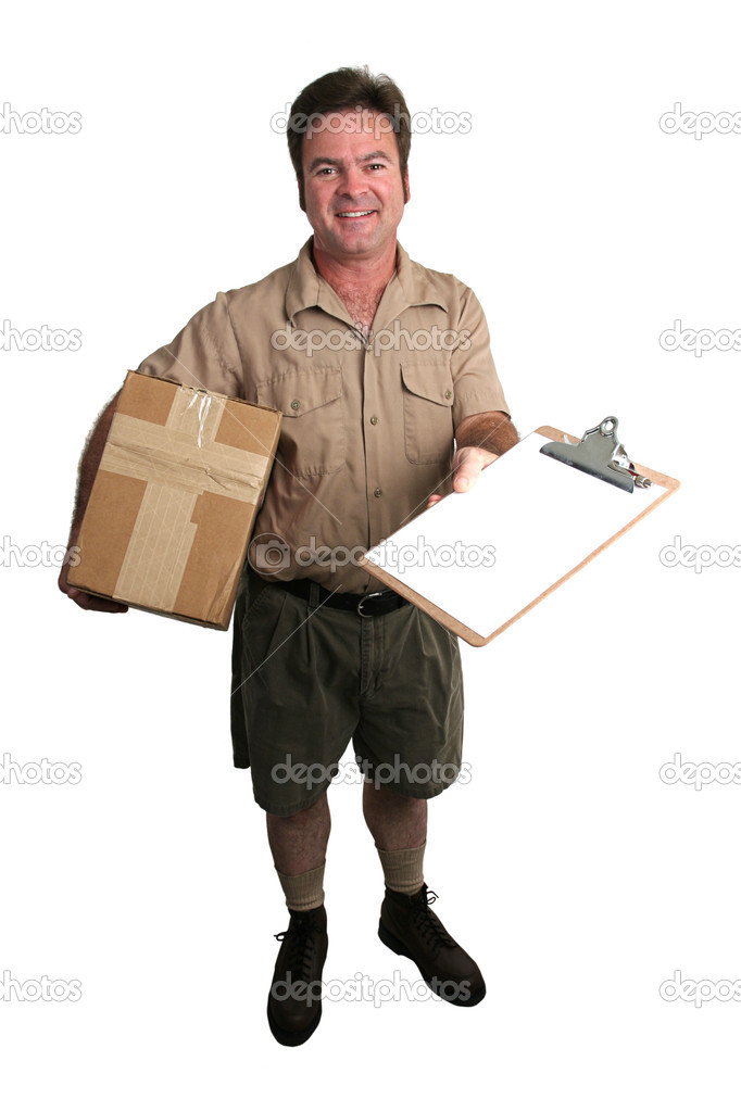 A courier delivering a package and holding out a clipboard for a signature - isolated  Stock Photo #6779046