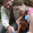 Father Daughter Guitar Lesson — Stock Photo