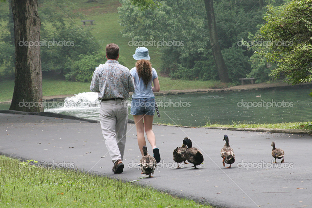 A father and daughter in a park with a group of ducks waddling behind them — Stock Photo #6781669