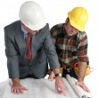 Reviewing Blueprints — Stock Photo