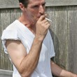 Smoking Man - Inhale — Stock Photo