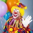 Circus Clown Waves Hello — Stock Photo