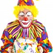 Clown Blows Birthday Candle — Stockfoto