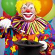 Clown Does Magic Trick — Stock Photo