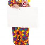 Clown Holding Blank Sign - Full Body — Stock Photo