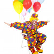 Flying Clown in Lawn Chair — Stockfoto