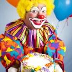 Happy Birthday Clown with Cake — Stock Photo