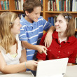 Computer Kids in Library — Stock Photo