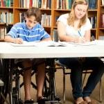 Disabled Boy Doing Homework — Stock Photo