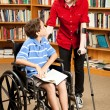 Disabled Kids in Library — 图库照片