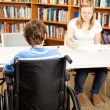 Disabled Student in Library — Stock Photo