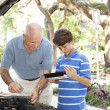 Father Son Auto Repair with Copyspace — Stock Photo