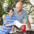 Father and Son Car Maintenance — Stockfoto
