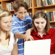 Library Kids on Computer — Stock Photo
