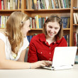 Library Teens on Computer — Stock Photo