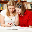 Library Teens with MP3 Player — Stock Photo